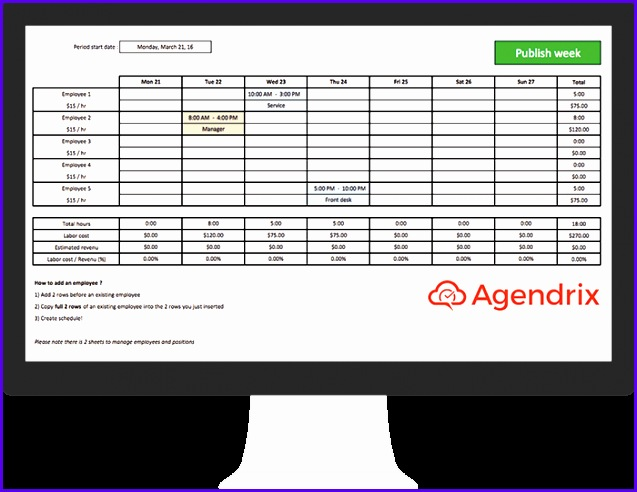 Free Excel Schedule Template for Employee Scheduling 637492