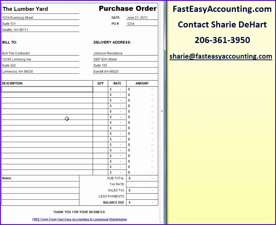 Free Contractor Purchase Order Template Excel Download By Fast Easy Accounting 959783