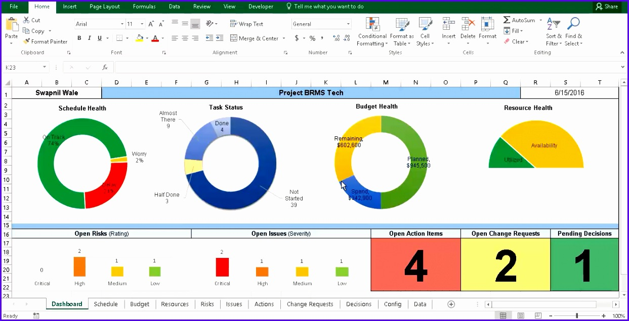 Excel Project Management Template 1243636