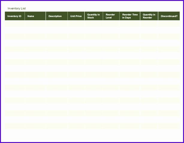 Inventory list 614478