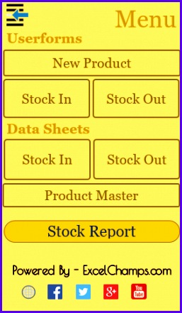 menu in excel inventory management template 257441