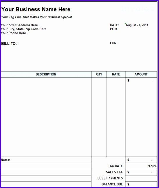 Subcontractor Invoice Template Excel 546644