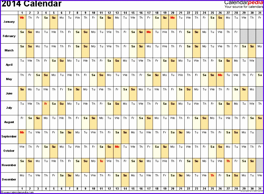 Template 3 2014 Calendar for Excel days horizontally linear 1 page 895659