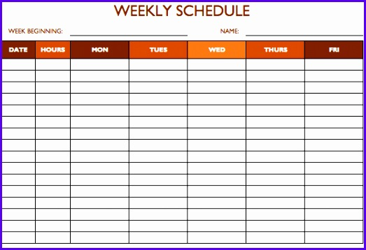 5 Day Weekly Work Schedule Template 8 6 p m for Excel If you only need a weekday schedule showing business hours this template provides a simple 523358
