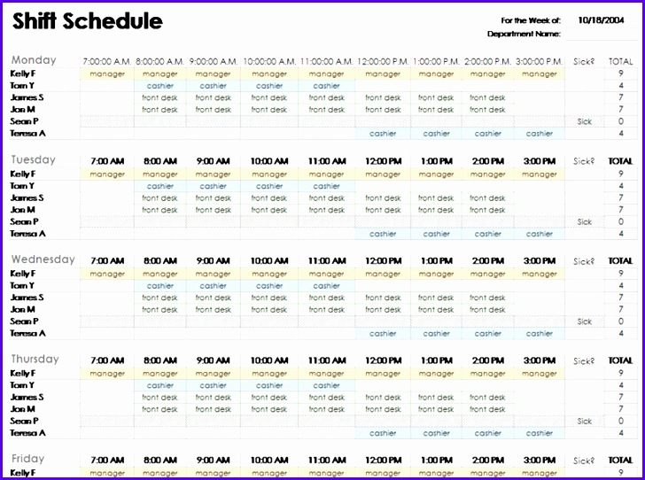 Free employee shift schedule template for excel Excel template 2003 TiyIhH73