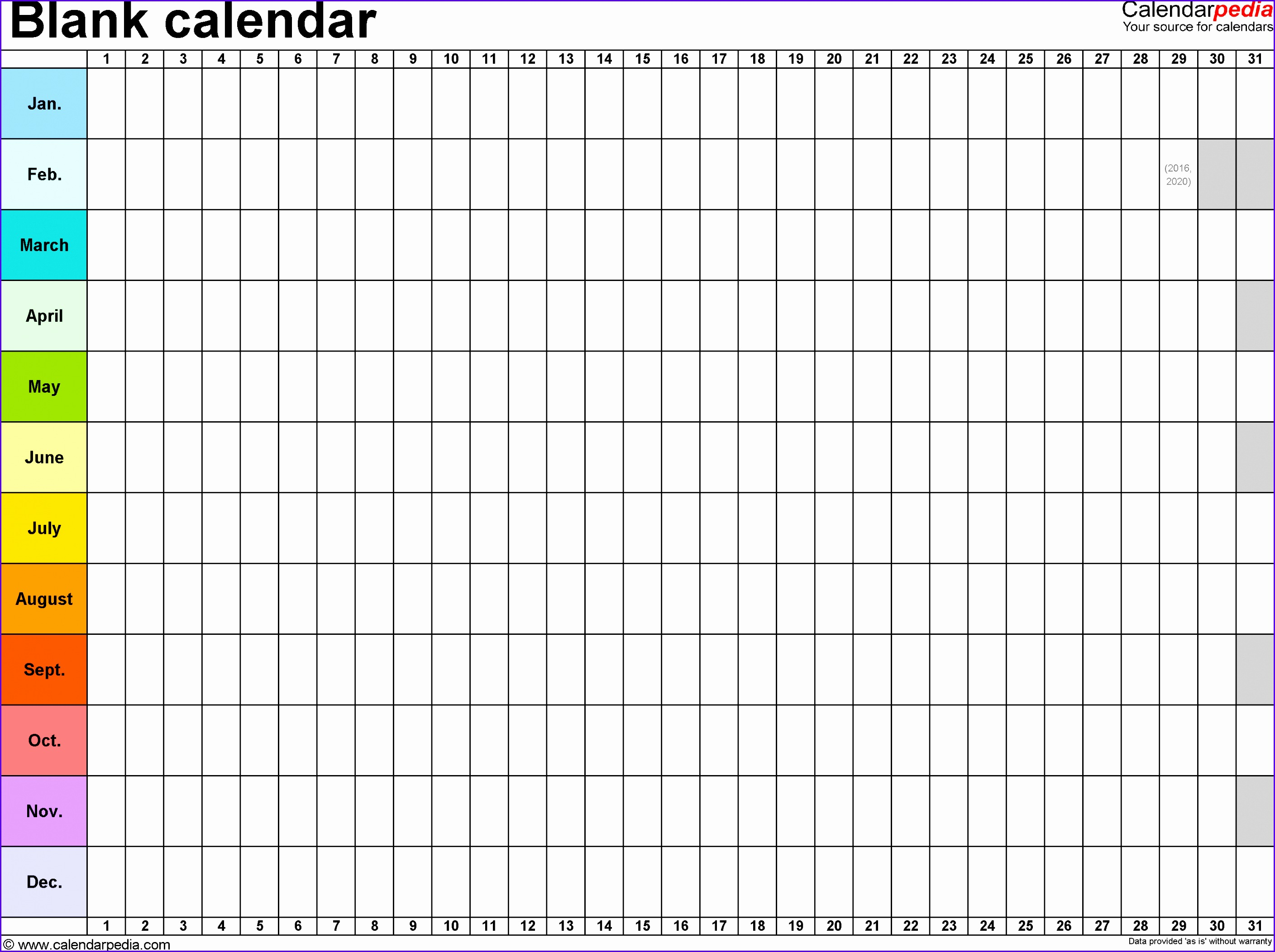 Free Yearly Blank Calendar Template – Printable Blank Yearly Calendars 28172104