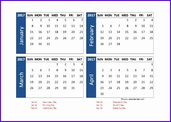 2017 Excel 4 Month Calendar Template 546389