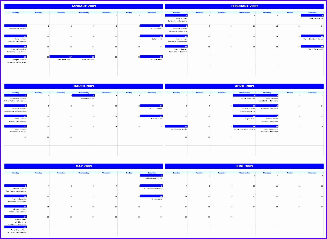 6 Monthly Calendar Template 1115817