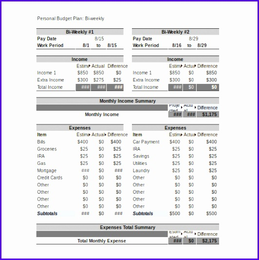 Personal Bud Template – 10 Free Word Excel Pdf Documents 532533