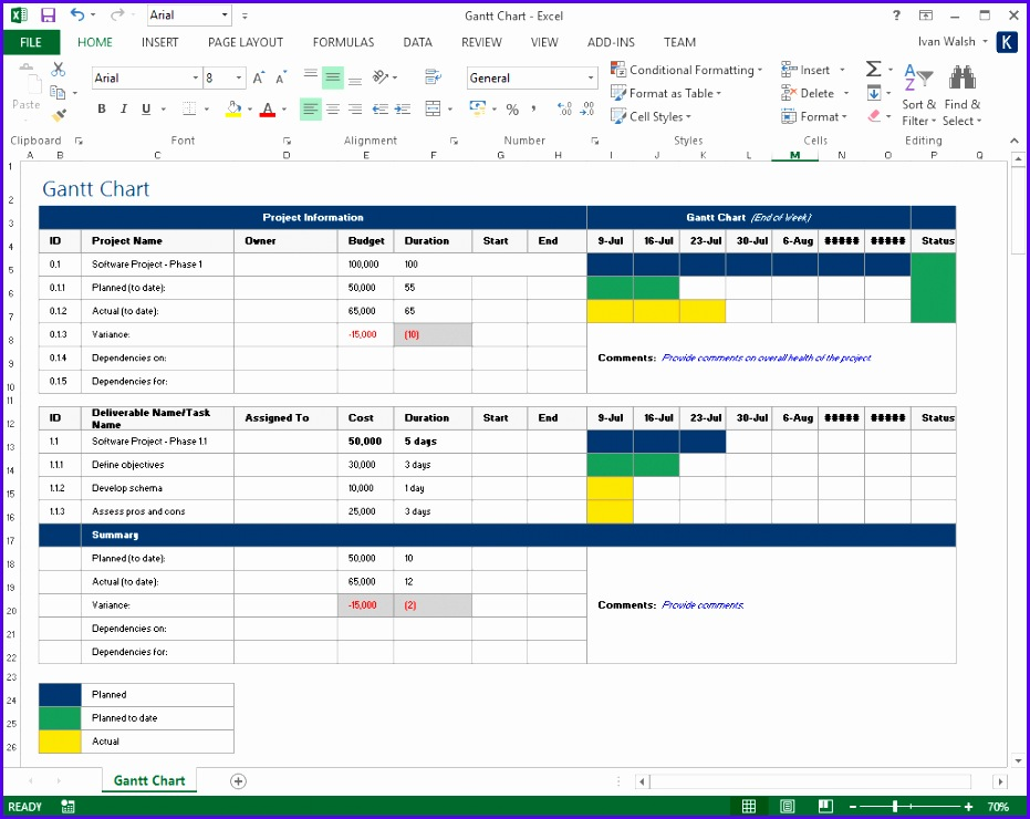10 Free Project Plan Excel Templates Gantt Chart 931740