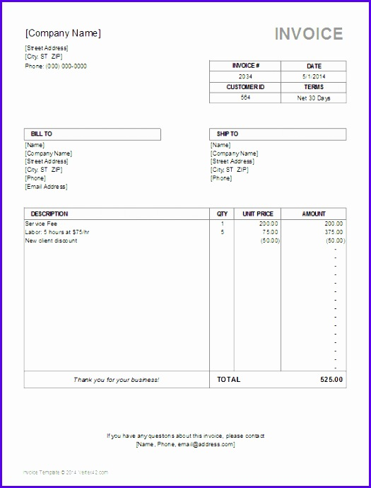 billing invoice template for excel simple 525690