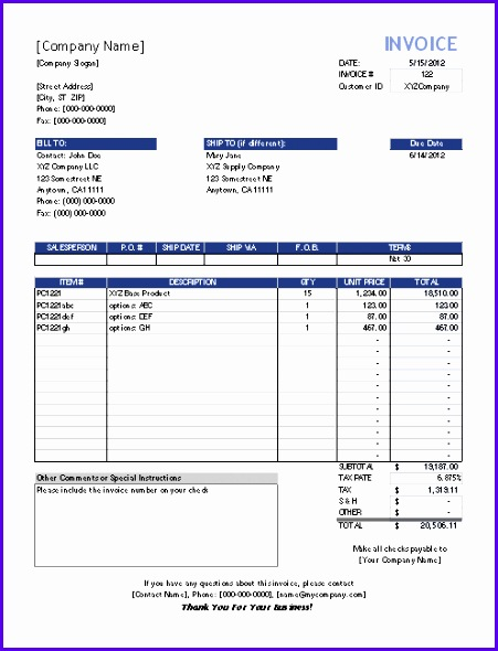 ms excel invoice templates