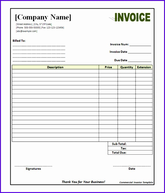 Word mercial invoice template