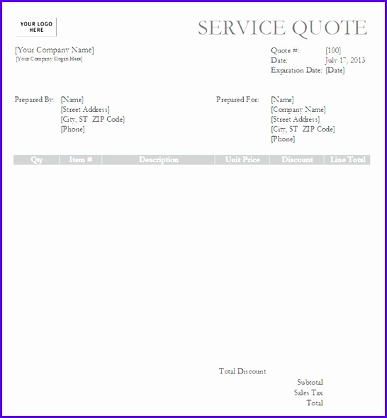Information to include on the service quote template 546590