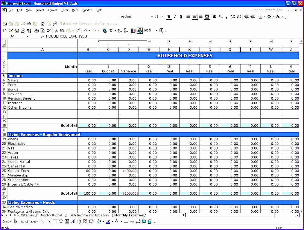 Bud template excel family spreadsheet simple capture 1048794