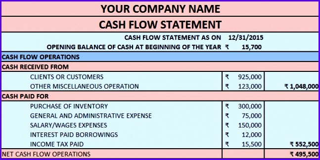 Download Cash Flow Statement Excel Template 647325