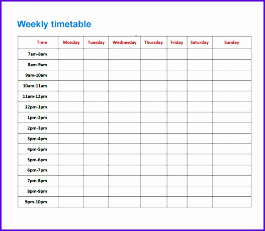 Sample Timetable 8 Documents In Pdf Excel 527460