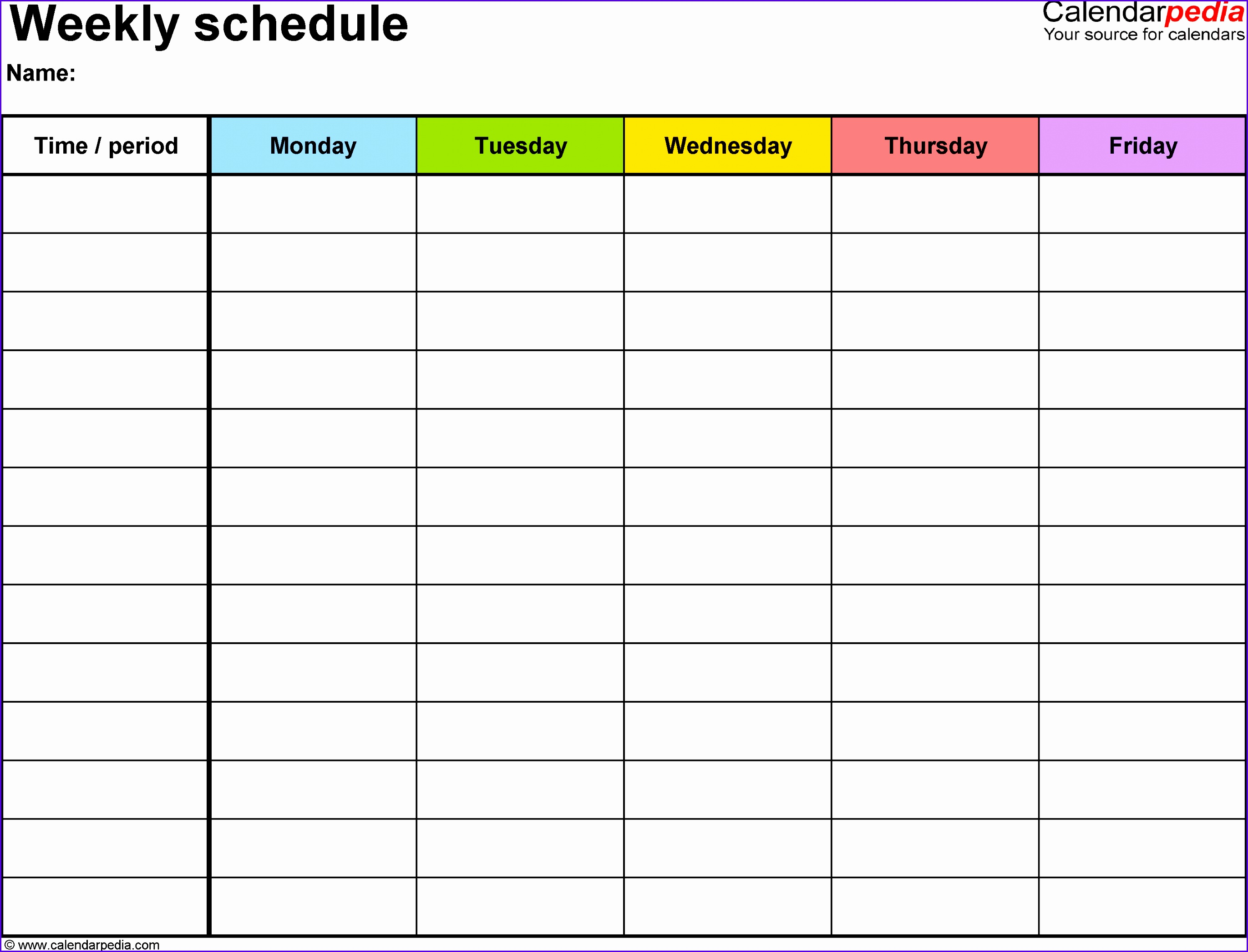 Weekly schedule template for Excel version 1 landscape 1 page Monday to Friday 27422093