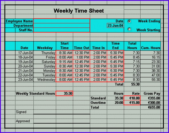 Time Sheet Format Weekly Timesheet Template Free Download Weekly 588466