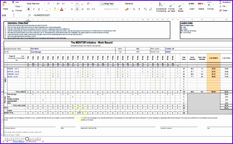 Timesheet Formula In Excel Template 892552
