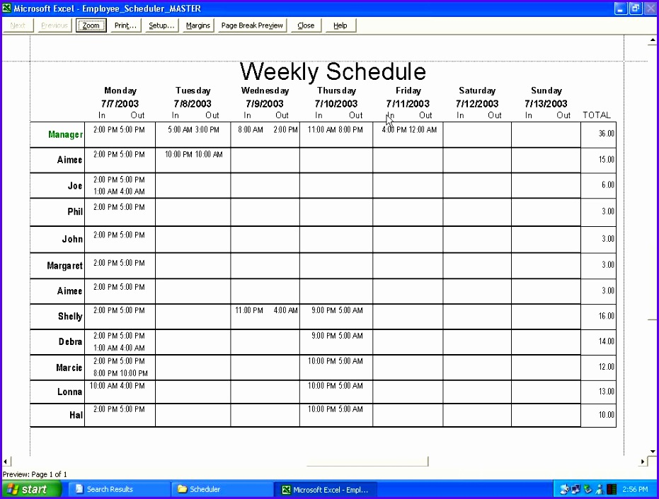 schedule excel spreadsheet 931706