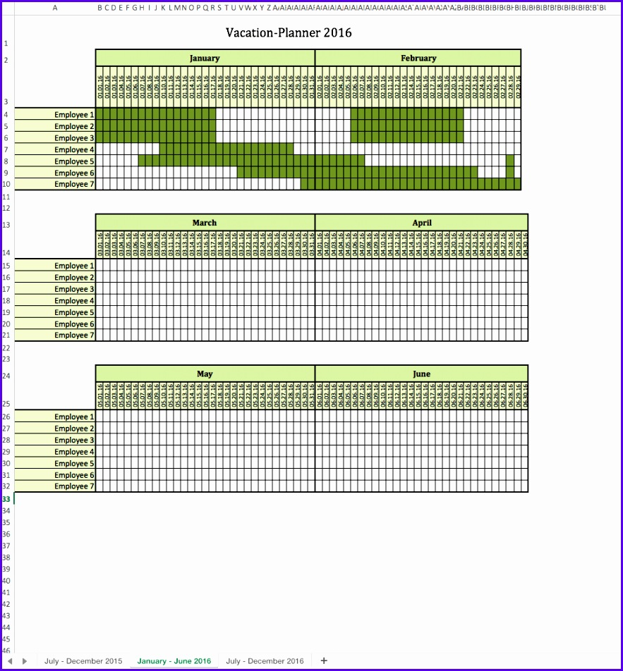 Vacation Planner 2016 Excel Spreadsheet