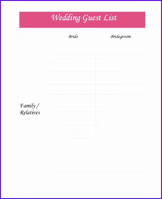 Wedding Guest List Template 9 Free Word Excel Pdf Documents 546671