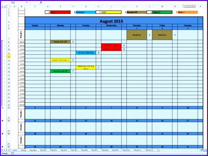 weekly calendar excel template