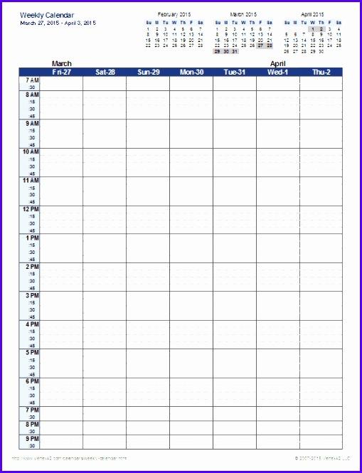 Excel Weekly Calendar Template 509665