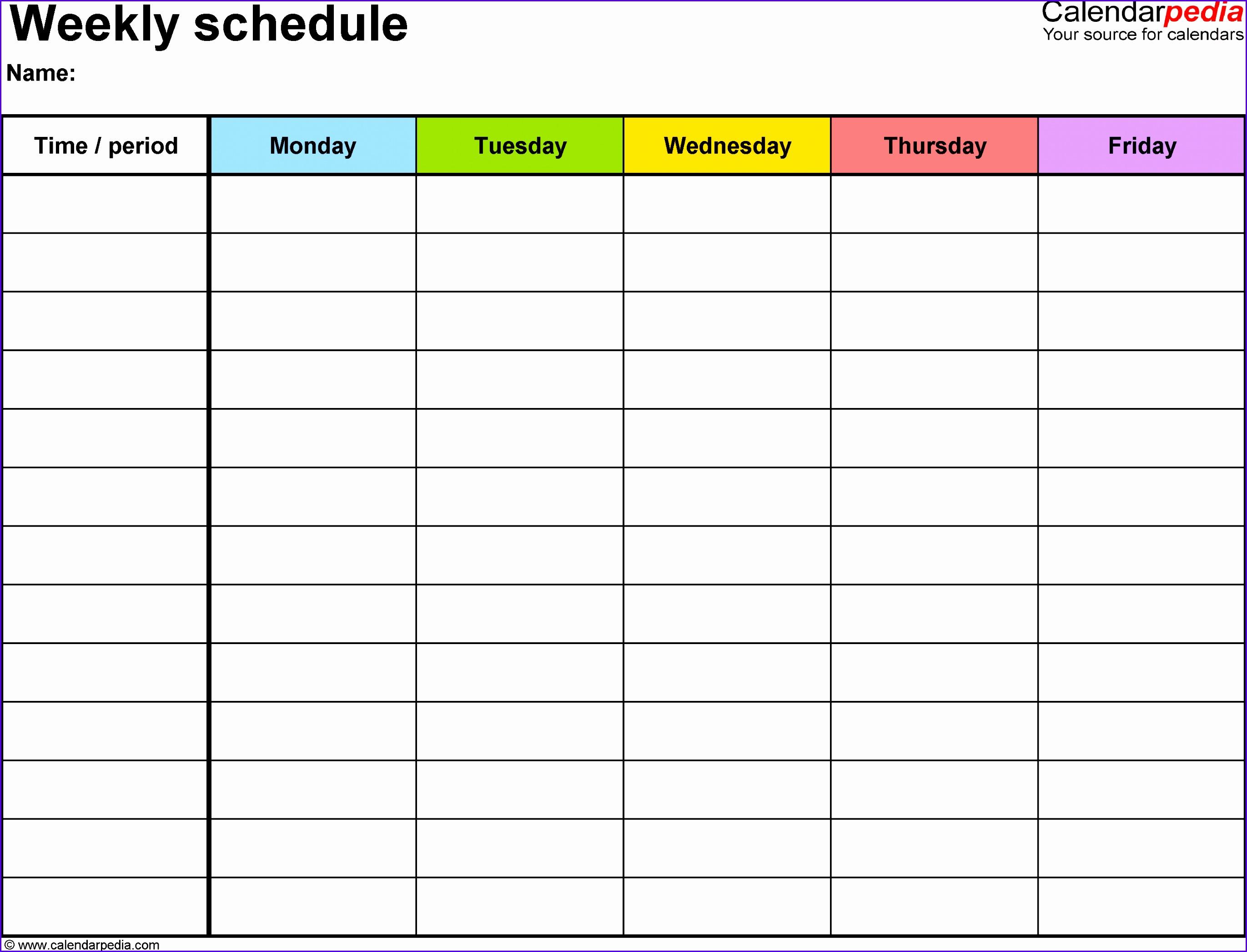 sample weekly calendar