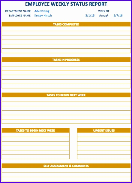 Weekly Report Template 440609