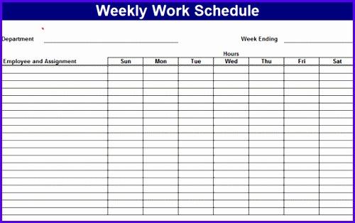 Employee Weekly Work Schedule Template 500314