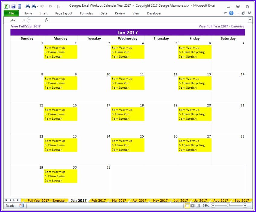 2017 Monthly Fitness Calendar Excel Spreadsheet 847703