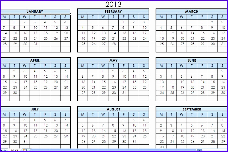 2013 Printable e Page Calendar Yearly Excel Template 771515