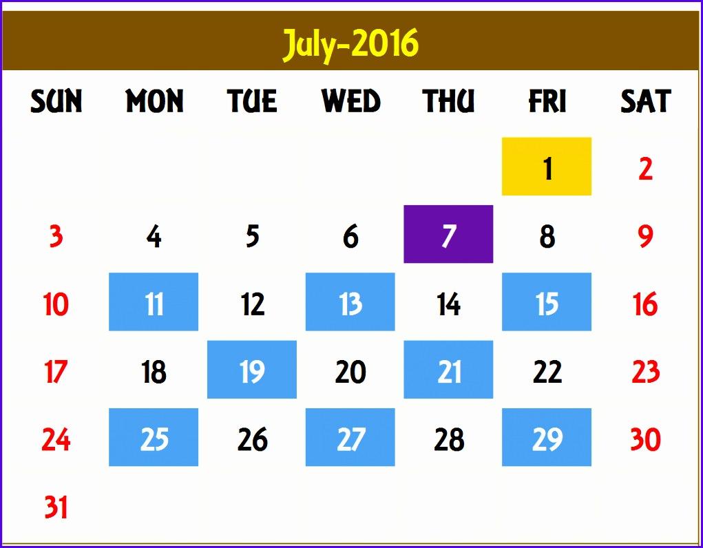 Excel Calendar Template – Monthly Calendar 1021796