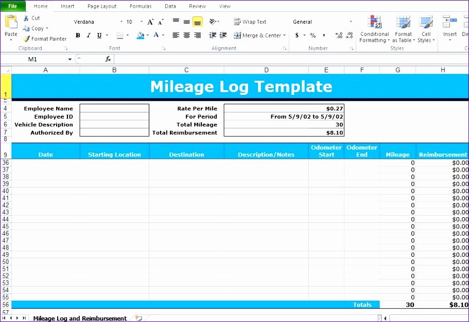 mileage log excel template 911627
