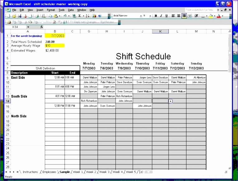 employee work schedule template excel 764579