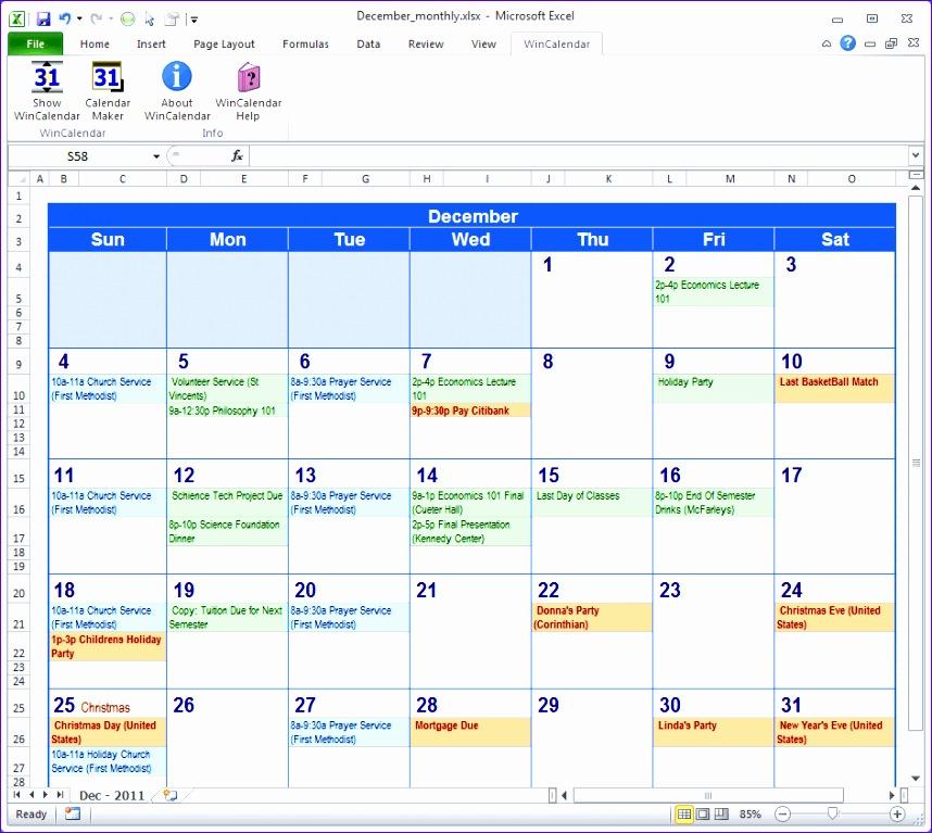 calendar excel 28 858767