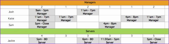 restaurant employee scheduling template for excel 700184