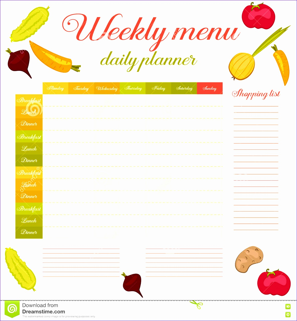 stock illustration weekly menu cute vintage planner paper note week healthy eating routine breakfast lunch dinner calendar template shopping image 11831278