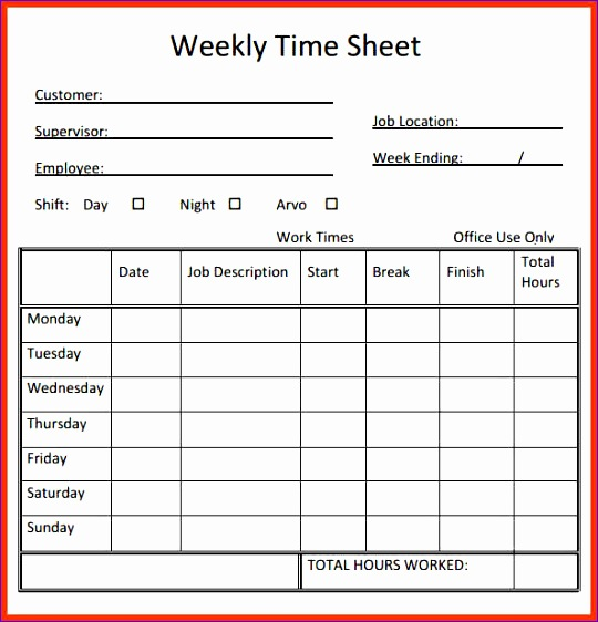 timesheet template 2 540562