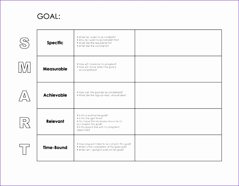 10 smart goals template excel exceltemplates for Goals and objectives template excel