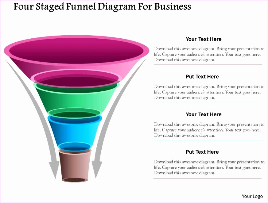 1214 four staged funnel diagram for business powerpoint template 873662