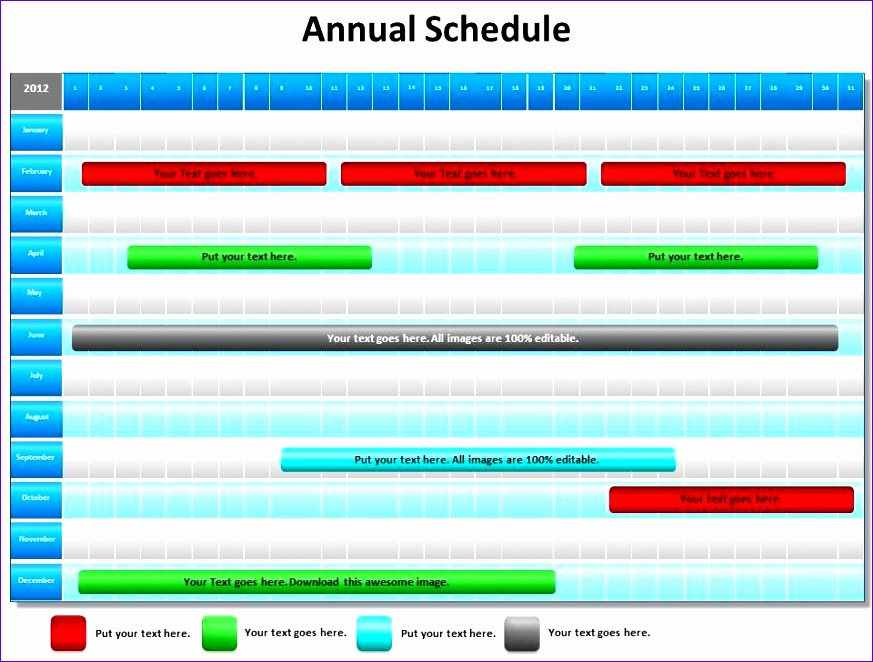 annual schedule shown by gantt chart powerpoint diagram templates graphics 712 873662