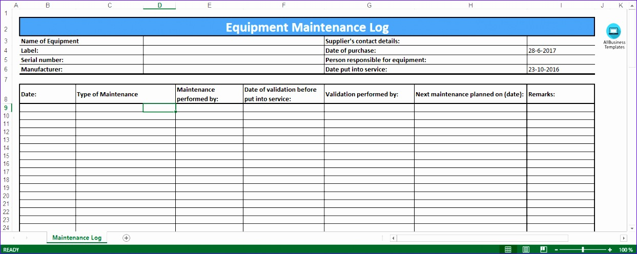 equipment maintenance log excel template 1243496