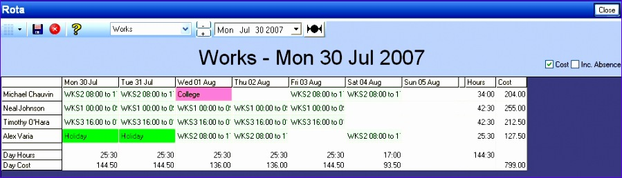 how to make a staff rota on excel