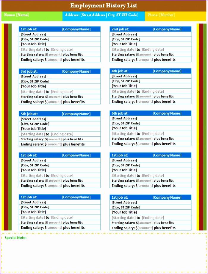 employment history list 699920