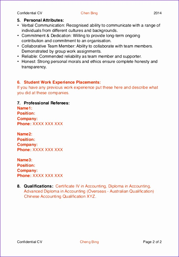 example cv for 580830