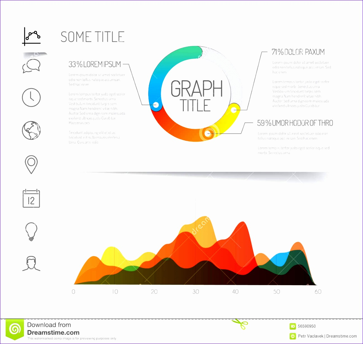 stock illustration minimalist infographic dashboard template simple flat design graphs charts light version image 11831122