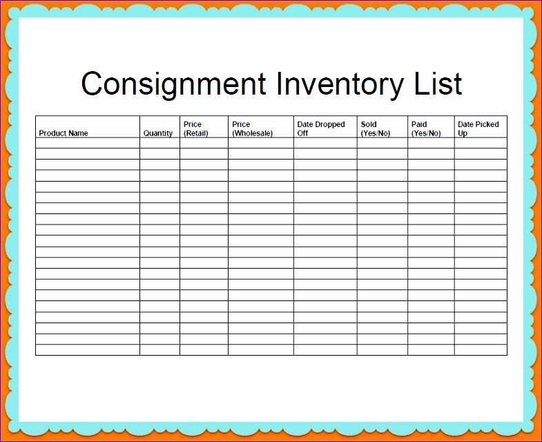 pany consignment and inventory stock list template sample 785640